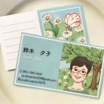 似顔絵+イラスト名刺制作例 〜春のイメージ〜
