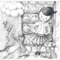 鉛筆画 ビーズ Rainy Day