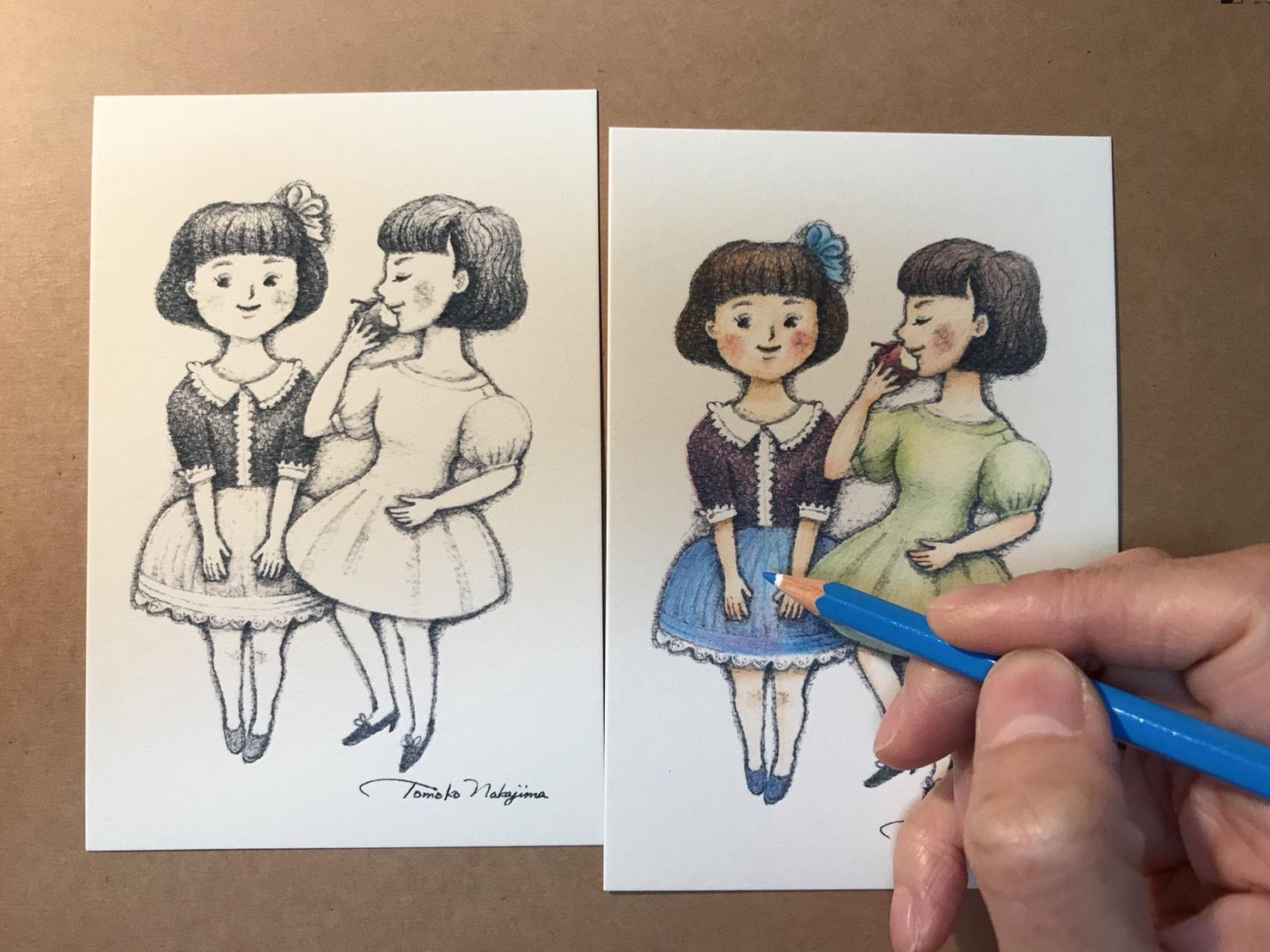 塗り絵女の子2人
