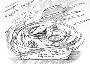 イラストレーター ペン画 なかじまともこ カエルがのんびり